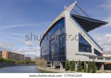 Side view of Vicente Calderon Stadium, Madrid, Spain