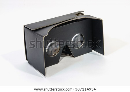 Side view of virtual reality cardboard glasses in black. Anticrisis gadget for an immersive virtual reallity experience - stock photo