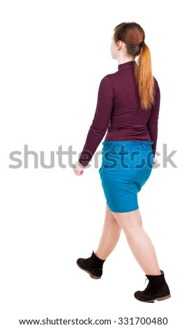 side view of walking  woman in dress. beautiful girl in motion.  backside view of person.  Rear view people collection. Isolated over white background.