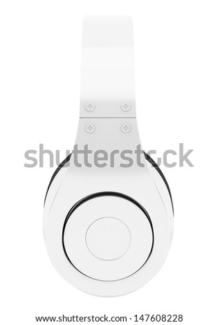 side view of white and black wireless headphones isolated on white background - stock photo