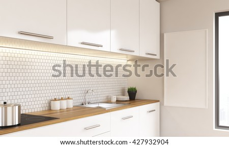 Side view of white luxury kitchen interior with blank whiteboard and window. Mock up, 3D Rendering - stock photo