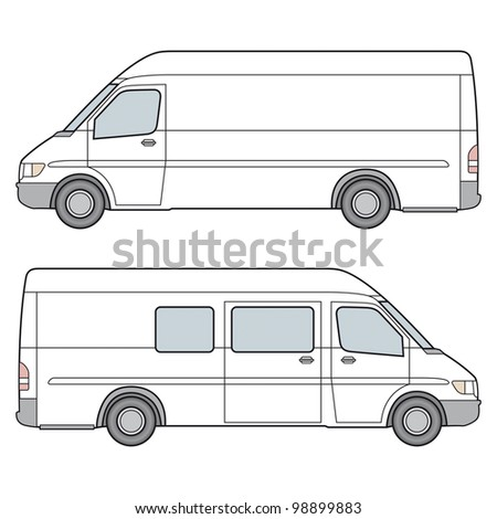 Side View of White Minibus Template. Rasterized Version