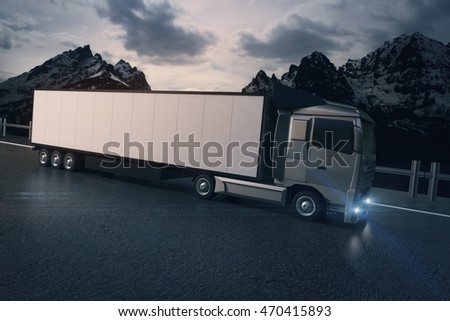 Side view of white truck with empty trailer on mountain landscape background. Mock up, 3D Rendering