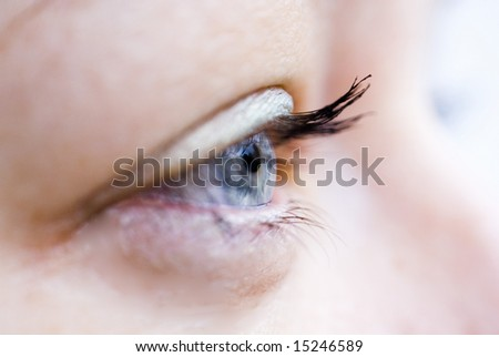 Side view of woman's blue eye