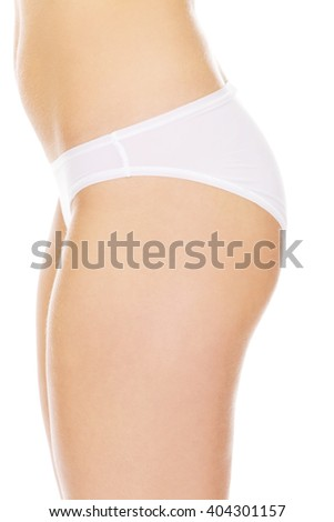 Side view of woman sexy body in white underwear