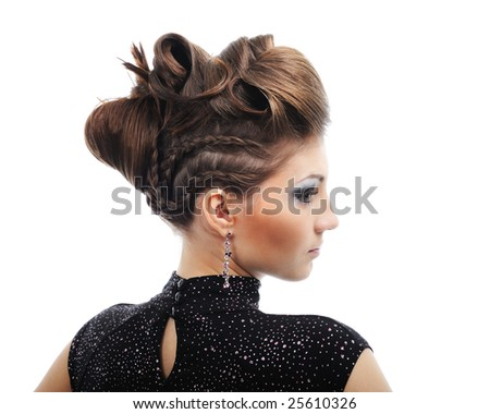 Side view of  woman with style hairstyle - isolated on white - stock photo
