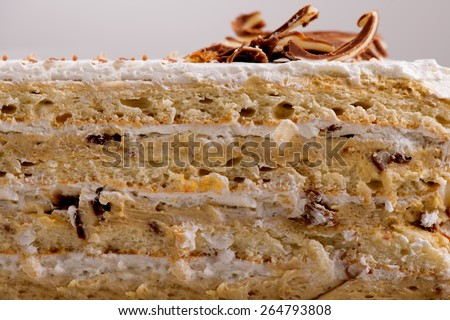 Side view or cross cake. Texture and used ingredient for this cake are visible. A professional food stylist was used for this image. - stock photo