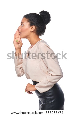 Side view portrait of a mixed race caucasian - african american business woman whispering gossip, over white background - stock photo