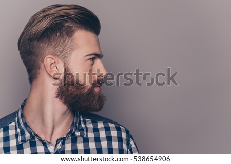 Side View Portrait Thinking Stylish Young Stock Photo