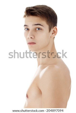 Side view portrait of young man with health clean skin isolated on white background - stock photo