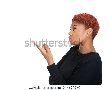 Side view profile portrait attractive young woman pointing with finger up, solving problem, ok next isolated white background with copy space. Human emotion intelligence, face expression body language - stock photo