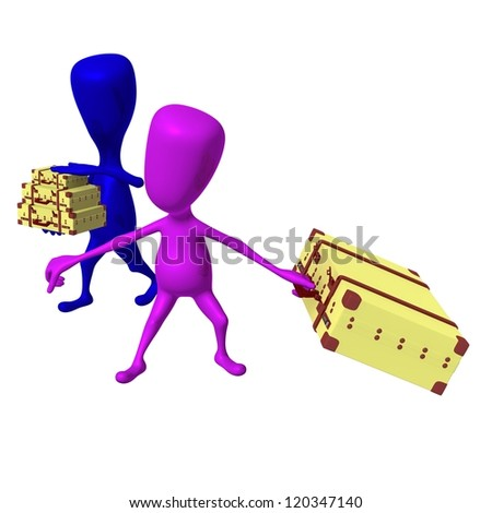 Side view puppet drags heavy case in hurry - stock photo