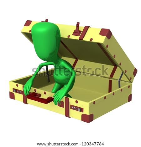 Side view puppet try get out from suitcase - stock photo