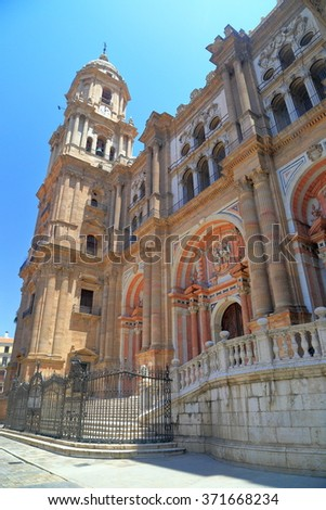 Side view to the Catholic Cathedral in Malaga, Andalusia, Spain