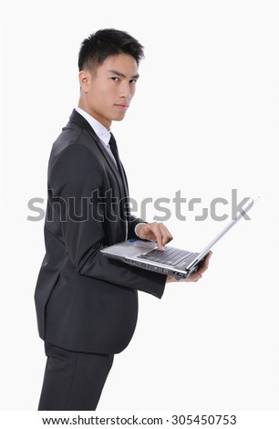 Side view young business men with laptop