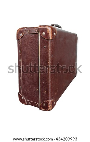 Side vintage brown suitcase on white background