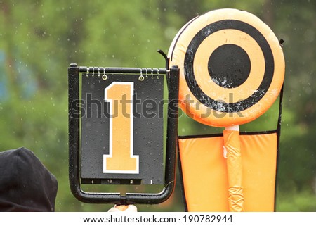 Sideline markers used in American football games - stock photo