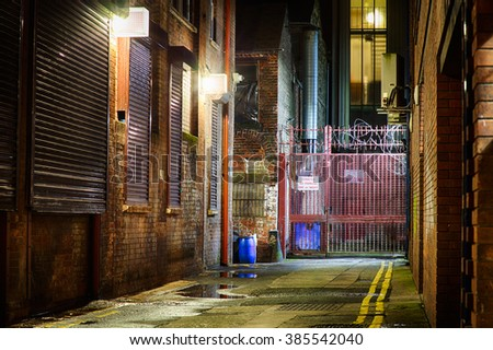 Sidestreet at Night, Belfast, Northern Ireland. - stock photo