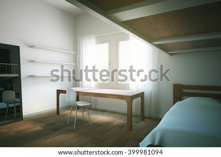 Sideview of child room interior design with wooden furniture and floor. 3D Rendering
