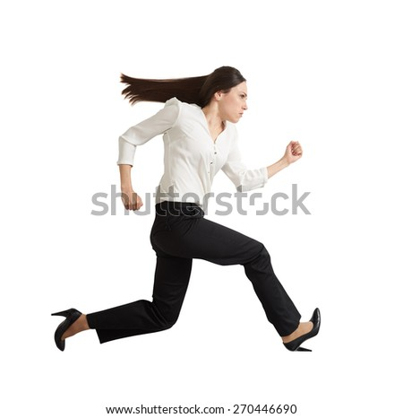 sideview of concentrated running businesswoman looking forward. isolated on white background - stock photo