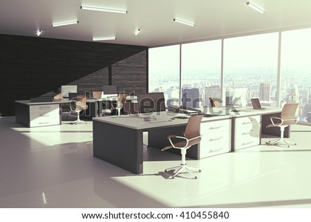Sideview of grey office interior with city view and sunlight. 3D Rendering