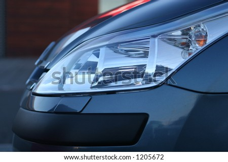 sideview of halogen headlight on a new car