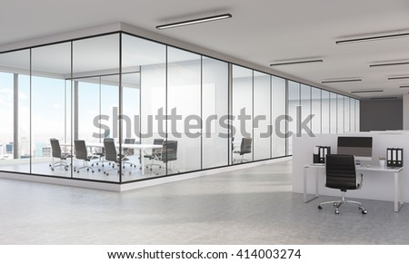 Sideview of large office interior with New York city view and blank whiteboard. 3D Rendering