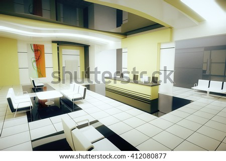 Sideview of light business interior with reception. 3D Rendering
