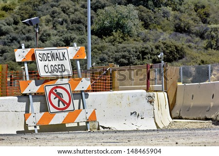 Sidewalk closed to pedestrians. - stock photo