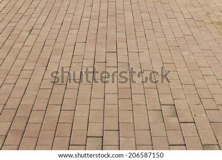 sidewalk from red bricks - stock photo