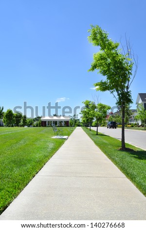 Sidewalk in a Brand New Suburban Neighborhood Development - stock photo