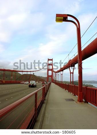 Sidewalk of the Golden Gate Bridge - stock photo