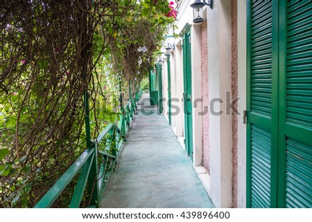 Sidewalk terrace retro style - stock photo