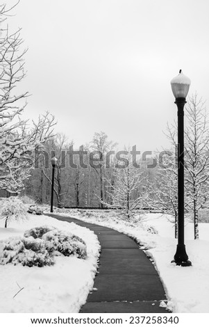 Sidewalk with streetlights cleared of snow. - stock photo