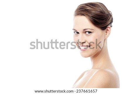 Sideways image of woman with bare shoulders