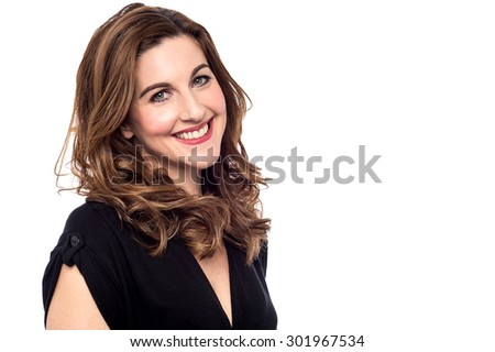 Sideways of stylish woman posing over white - stock photo