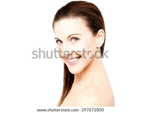 Sideways of woman with bare shoulders - stock photo