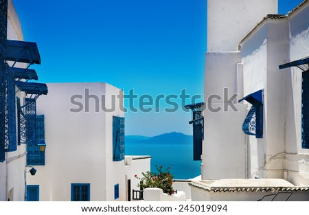Sidi Bou Said. La Gulett, Tunisia. White and blue town - stock photo