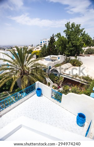 Sidi Bou Said - panoramic view over the rooftops of the city, Tunisia - stock photo