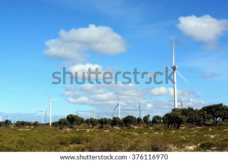 Sidi  Kaouki, Morocco -  January 8, 2016: windmills near Essaouira