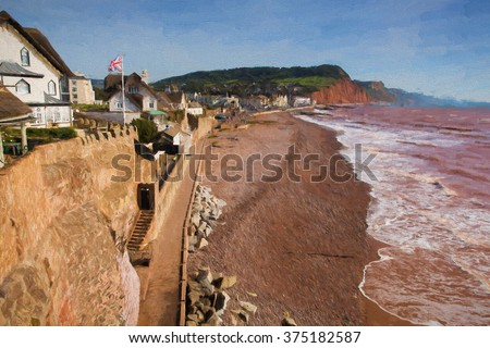 Sidmouth beach and coast Devon England UK with a view along the Jurassic Coast illustration like oil painting