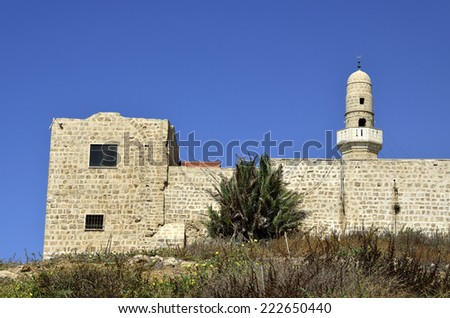 Sidna Ali Mosque religious site at Mediterranean seaside in Israel. - stock photo