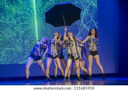 SIEDLCE, POLAND 14 MARCH: dancers of Luz Dance Theatre perform on stage at Podlasie theatre on March 14 2013 in Siedlce, Poland - stock photo