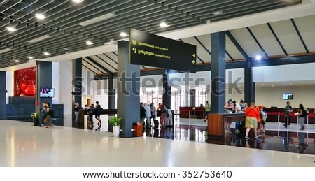SIEM REAP, CAMBODIA -6 DEC 2015- The Siem Reap International Airport (REP), located near the Angkor temple complex, is the busiest airport in Cambodia. Many planes are from Cambodia Angkor Air (K6).