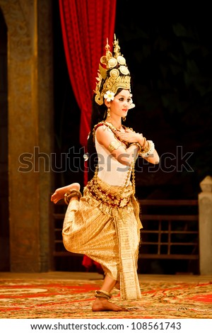 SIEM REAP, CAMBODIA - DECEMBER 28, 2008: Khmer classical dancer performing in full traditional costume December 28, 2008 in Siem Reap, Cambodia.Angkor Wat is the most visited place in Cambodia.