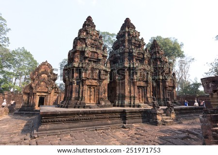 SIEM REAP, CAMBODIA - February 7,2015 - Banteay Srei - a 10th century Hindu temple dedicated to Shiva. The temple built in red sandstone was rediscovered 1814 in the jungle of the Angkor area.