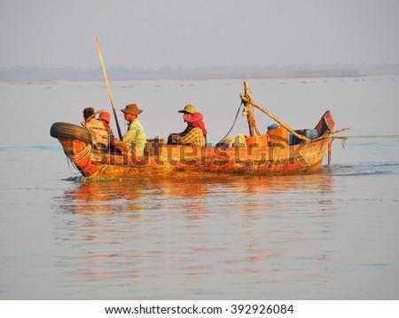 Siem reap, Cambodia. - JAN 28:2016. Native people Unidentified at Floating Village Tonle Sap Lake, Siem reap, Cambodia. - stock photo
