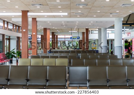 SIEM REAP, CAMBODIA - SEP 29, 2014: Interior of the Siemreap International Airport. It is the busiest airport in Cambodia in terms of passenger traffic.
