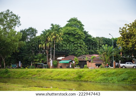 SIEM REAP, CAMBODIA - SEP 28, 2014: View of houses in Siemreap, Cambodia. Siem Reap is the capital city of Siem Reap Province and a popular resort town as the gateway to Angkor region
