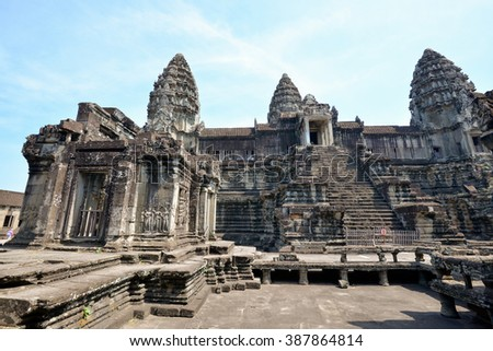 Siem Reap, Cambodia - 25th January 2016 : View of one of the amazing building inside the Angkor Wat temple.